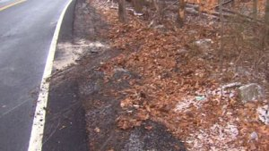 The scene of a one-car crash in Easton where a man was seriously injured. (WBZ-TV)